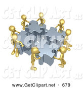 Clip Art of 3d Gold People Assembling a Puzzle by 3poD