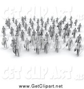 Clip Art of 3d Gray Business People Walking in a Group by 3poD