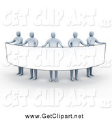 Clip Art of 3d Gray People Holding a Banner Sign by 3poD