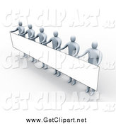 Clip Art of 3d Gray People Standing and Holding up a Long Rectangular Blank Sign by 3poD