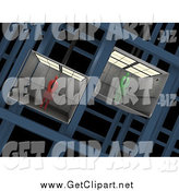 Clip Art of 3d Green and Red Business Men in Different Elevators by 3poD