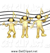 Clip Art of 3d Music Note Headed Gold Men Wearing Headphones by 3poD
