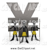 Clip Art of 3d Native Guards with Spears, Protecting a Stone Statue in the Shape of the Yen Symbol by 3poD