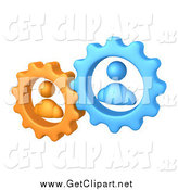 Clip Art of 3d Orange and Blue People Inside Gears, Working Together to Solve a Problem by 3poD