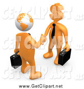 Clip Art of 3d Orange Business Men with Globe and Dollar Currency Symbol Heads, Shaking Hands by 3poD