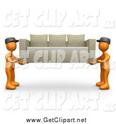 Clip Art of 3d Orange Male Guys Lifting and Carrying Away a Tan Couch While Moving or Delivering by 3poD