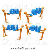 Clip Art of 3d Orange Men Carrying Dot Eu Domain Extensions, on a White Background by 3poD