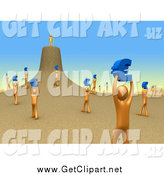 Clip Art of 3d Orange People Holding up Blue Euro Signs and Carrying Them to Their Leader As if They Were Ants by 3poD