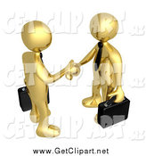 Clip Art of 3d Partnering Gold Business Men Shaking Hands by 3poD