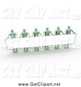 Clip Art of 3d Pastel Green People Standing and Holding up a Long Rectangular Blank Sign by 3poD