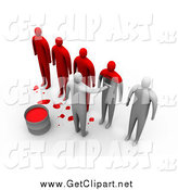 Clip Art of 3d People Being Painted Red by 3poD