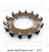 Clip Art of 3d Professional People Surrounding a Circular Meeting Table by 3poD