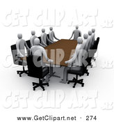 Clip Art of 3d Professional People Surrounding a Rectangular Meeting Table by 3poD