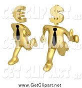 Clip Art of 3d Racing Gold Business Men Running with Euro and Dollar Heads by 3poD
