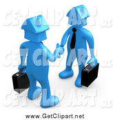 Clip Art of 3d Two Blue House Head People Shaking Hands by 3poD