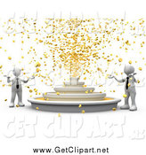Clip Art of 3d White Business Men Around a Fountain Shooting out Gold Coins by 3poD