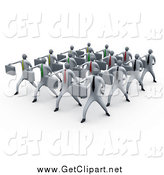 Clip Art of 3d White Business Men Doing Training in a Group by 3poD