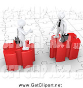 Clip Art of 3d White Businessmen on Raised Puzzle Pieces by 3poD
