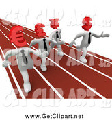 Clip Art of 3d White Currency Business Men Racing on a Track by 3poD