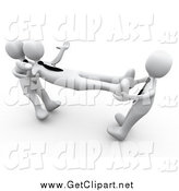 Clip Art of 3d White Guys Fighting over an Employee by 3poD