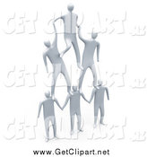 Clip Art of 3d White Men Forming a Pyramid Team by 3poD