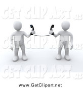 Clip Art of 3d White People Holding Telephone Receivers Attached to the Same Cord by 3poD