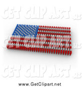 Clip Art of a 3d American Flag Made of Red, Blue and White People by 3poD