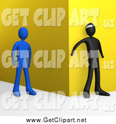 Clip Art of a 3d Bad Person Waiting Around a Corner to Attack an Approaching Blue Person by 3poD