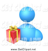 Clip Art of a 3d Blue Avatar Man with a Christmas Gift by 3poD