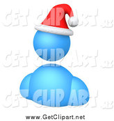Clip Art of a 3d Blue Avatar Wearing a Red Santa Hat by 3poD