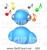 Clip Art of a 3d Blue Avatar Wearing Chrome Headphones and Listening to Music, with Colorful Notes Floating Above by 3poD