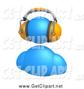 Clip Art of a 3d Blue Avatar Wearing Orange Headphones by 3poD