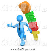 Clip Art of a 3d Blue Business Man and Tumbling Debt by 3poD