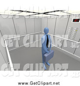 Clip Art of a 3d Blue Businessman in a Tie, Holding a Briefcase and Standing Patiently in an Elevator by 3poD