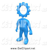 Clip Art of a 3d Blue Creative Cog Headed Person by 3poD