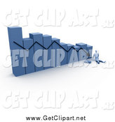 Clip Art of a 3d Blue Decreasing Bar Graph by 3poD