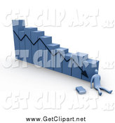 Clip Art of a 3d Blue Failure Bar Graph by 3poD