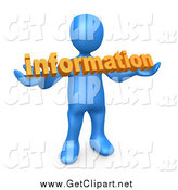 Clip Art of a 3d Blue Guy Holding Orange Text Reading Information by 3poD