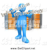 "Clip Art of a 3d Blue Guy Holding Words Reading ""Information Technology"" and Standing in Front of Orange and Silver Server Racks by 3poD"