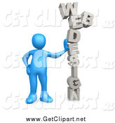 Clip Art of a 3d Blue Guy Leaning Against the Words Web Design by 3poD