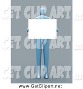 Clip Art of a 3d Blue Man Holding a Blank Sign in Front of His Chest by 3poD