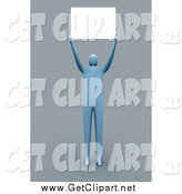 Clip Art of a 3d Blue Man Holding a Blank Sign over His Head by 3poD