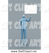 Clip Art of a 3d Blue Man Holding up a Blank Sign, over Gray by 3poD