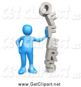 Clip Art of a 3d Blue Man Leaning Against the Stacked Word OFFERS by 3poD