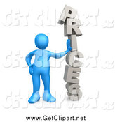 Clip Art of a 3d Blue Man Leaning Against the Word by 3poD