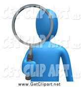 Clip Art of a 3d Blue Man Looking Through a Shiny Magnifying Glass by 3poD