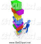 Clip Art of a 3d Blue Man Pushing a Cart in a Store, Purchasing a Lot of Items by 3poD