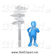 Clip Art of a 3d Blue Man Standing at a Crossroads by 3poD