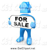 Clip Art of a 3d Blue Man with a House Head, Holding a for Sale Sign by 3poD