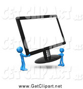 Clip Art of a 3d Blue People Carrying a Computer Screen by 3poD